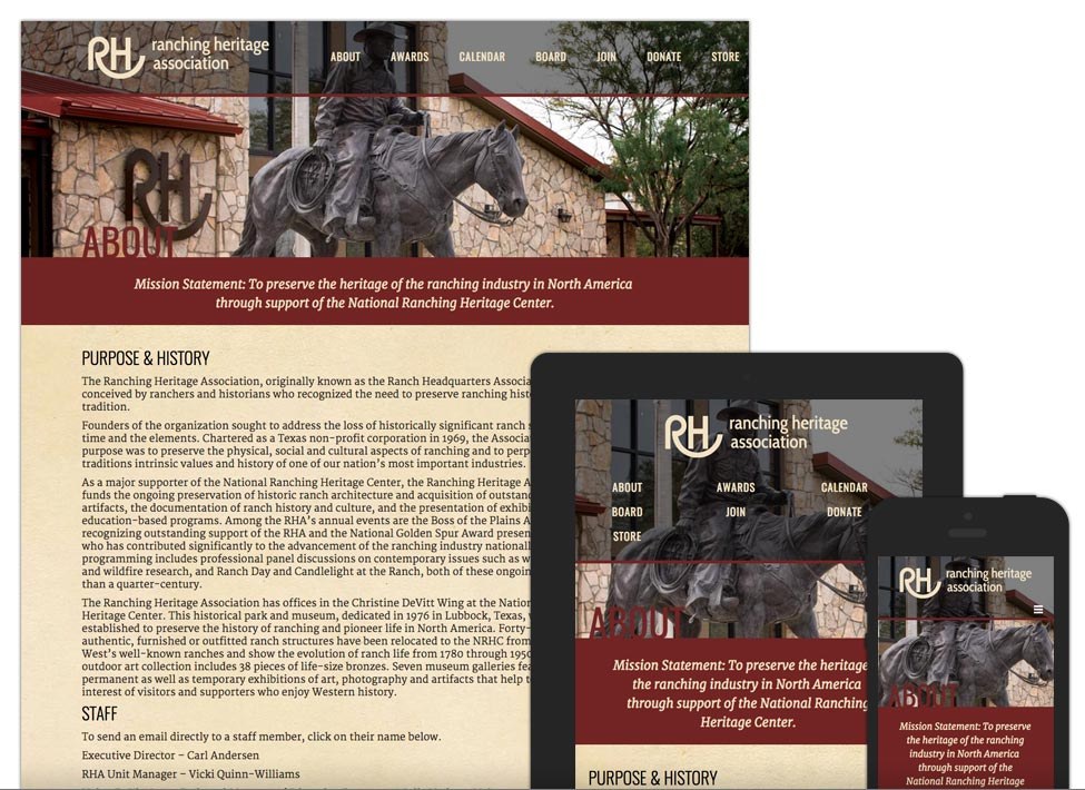 Lubbock Web Design - Ranching Heritage Association