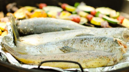 Trout on the grill.