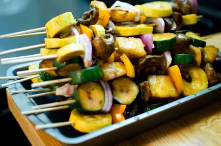 Stack of skewered veggies.